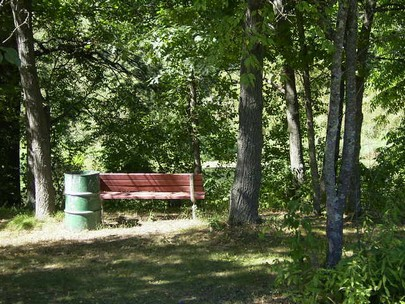 Riverview benches along the trail.